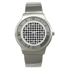Houndstooth1 Black Marble & White Leather Stainless Steel Watch