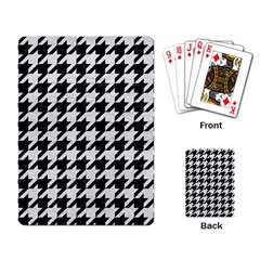Houndstooth1 Black Marble & White Leather Playing Card