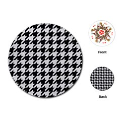 Houndstooth1 Black Marble & White Leather Playing Cards (round)