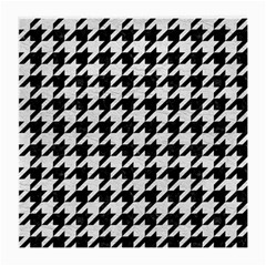 Houndstooth1 Black Marble & White Leather Medium Glasses Cloth (2 Side)