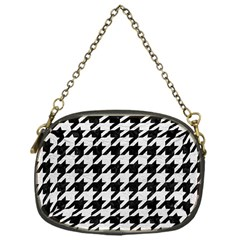 Houndstooth1 Black Marble & White Leather Chain Purses (one Side)