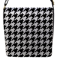 Houndstooth1 Black Marble & White Leather Flap Messenger Bag (s)