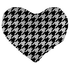 Houndstooth1 Black Marble & White Leather Large 19  Premium Flano Heart Shape Cushions