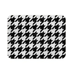 Houndstooth1 Black Marble & White Leather Double Sided Flano Blanket (mini)
