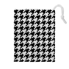 Houndstooth1 Black Marble & White Leather Drawstring Pouches (extra Large)
