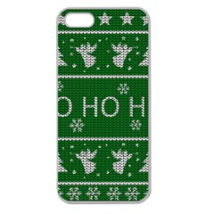 Ugly Christmas Sweater Apple Seamless Iphone 5 Case (clear)