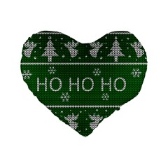 Ugly Christmas Sweater Standard 16  Premium Heart Shape Cushions