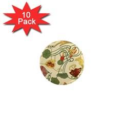 Floral Art Nouveau 1  Mini Magnet (10 Pack)