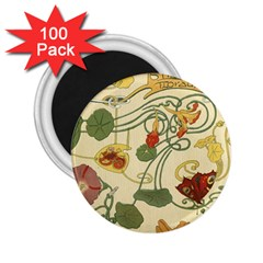 Floral Art Nouveau 2 25  Magnets (100 Pack)