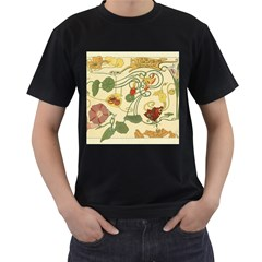 Floral Art Nouveau Men s T Shirt (black) (two Sided)
