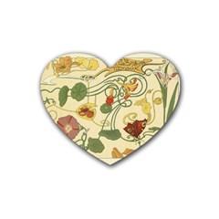 Floral Art Nouveau Rubber Coaster (heart)