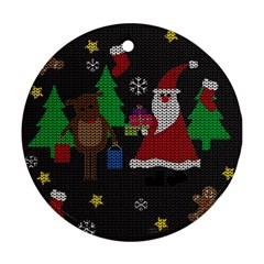 Ugly Christmas Sweater Round Ornament (two Sides)