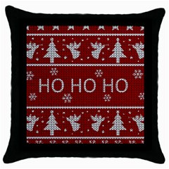 Ugly Christmas Sweater Throw Pillow Case (black)