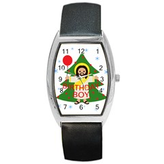 Jesus   Christmas Barrel Style Metal Watch