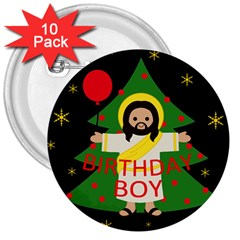 Jesus   Christmas 3  Buttons (10 Pack)