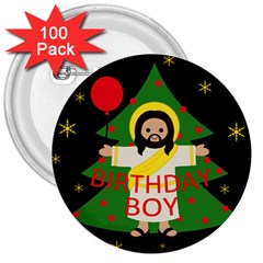 Jesus   Christmas 3  Buttons (100 Pack)