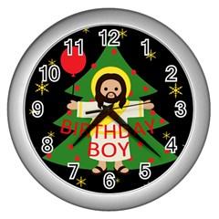 Jesus   Christmas Wall Clocks (silver)