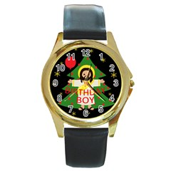 Jesus   Christmas Round Gold Metal Watch