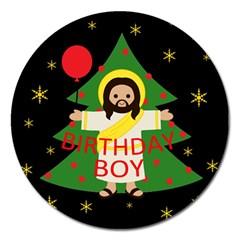 Jesus   Christmas Magnet 5  (round)