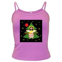 Jesus   Christmas Dark Spaghetti Tank