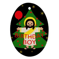Jesus   Christmas Oval Ornament (two Sides)