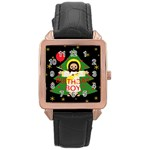 Jesus - Christmas Rose Gold Leather Watch  Front