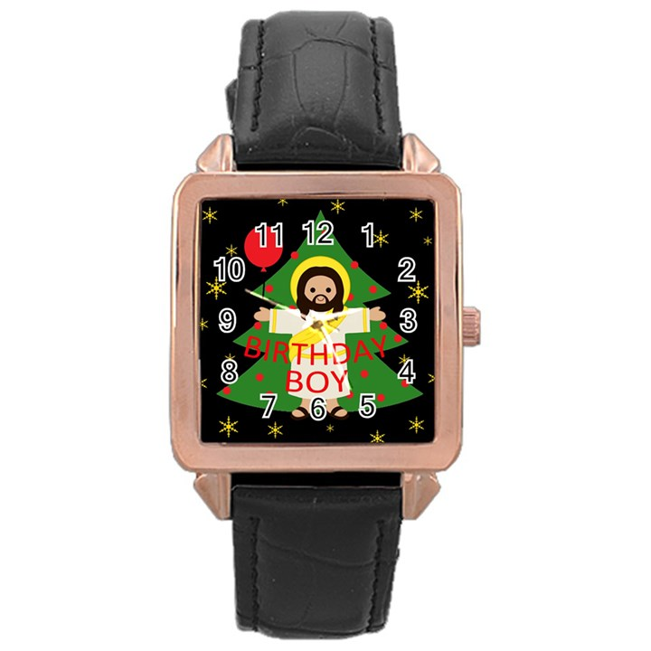 Jesus - Christmas Rose Gold Leather Watch