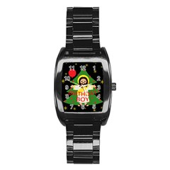 Jesus   Christmas Stainless Steel Barrel Watch