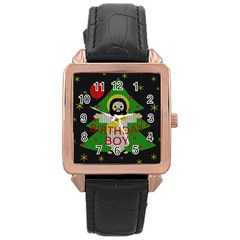 Jesus   Christmas Rose Gold Leather Watch
