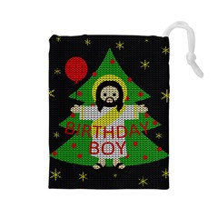 Jesus   Christmas Drawstring Pouches (large)