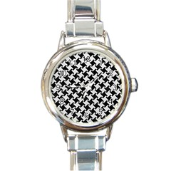 Houndstooth2 Black Marble & White Leather Round Italian Charm Watch