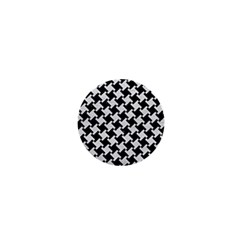 Houndstooth2 Black Marble & White Leather 1  Mini Magnets