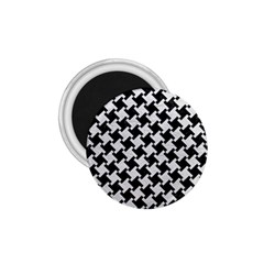Houndstooth2 Black Marble & White Leather 1 75  Magnets