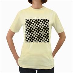 Houndstooth2 Black Marble & White Leather Women s Yellow T Shirt