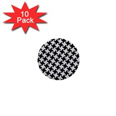 Houndstooth2 Black Marble & White Leather 1  Mini Buttons (10 Pack)