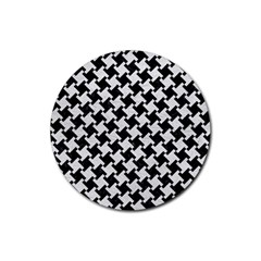 Houndstooth2 Black Marble & White Leather Rubber Coaster (round)
