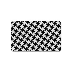 Houndstooth2 Black Marble & White Leather Magnet (name Card)