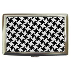 Houndstooth2 Black Marble & White Leather Cigarette Money Cases