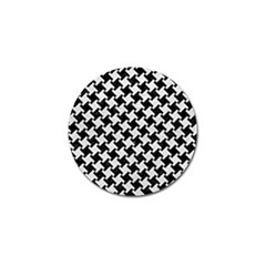 Houndstooth2 Black Marble & White Leather Golf Ball Marker (4 Pack)