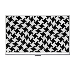 Houndstooth2 Black Marble & White Leather Business Card Holders