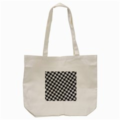 Houndstooth2 Black Marble & White Leather Tote Bag (cream)