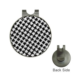 Houndstooth2 Black Marble & White Leather Hat Clips With Golf Markers