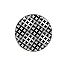 Houndstooth2 Black Marble & White Leather Hat Clip Ball Marker