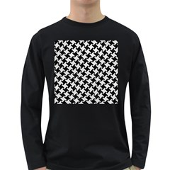 Houndstooth2 Black Marble & White Leather Long Sleeve Dark T Shirts