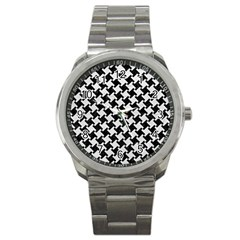 Houndstooth2 Black Marble & White Leather Sport Metal Watch