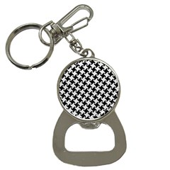 Houndstooth2 Black Marble & White Leather Button Necklaces