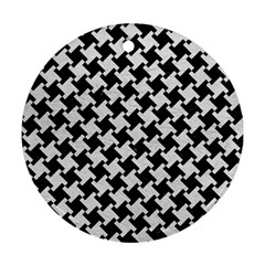 Houndstooth2 Black Marble & White Leather Round Ornament (two Sides)