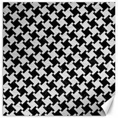 Houndstooth2 Black Marble & White Leather Canvas 12  X 12