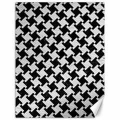 Houndstooth2 Black Marble & White Leather Canvas 12  X 16