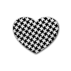 Houndstooth2 Black Marble & White Leather Rubber Coaster (heart)